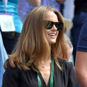 Kim Sears wearing Alphabet pendant
