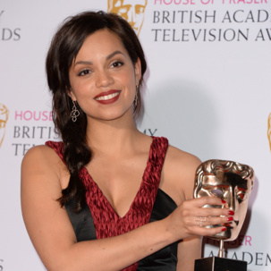 Georgina Campbell wears Diva cocktail ring and Riva drop earrings