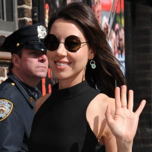 Aubrey Plaza wears Monica Vinader Diva Cocktail Earrings in Green Aventurine and Diamond to the Late Show with David Letterman in New York City.