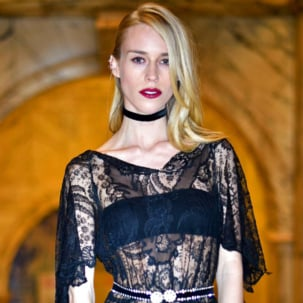 Mary Charteris wears the Gala Cocktail Ring to the Alexander McQueen: Savage Beauty Fashion Benefit Dinner at the V&A Museum in London