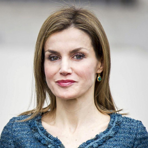 Queen Letizia of Spain in Siren Green Onyx Wire Earrings at the Basilea exhibition opening, Reina Sofia Museum in Madrid