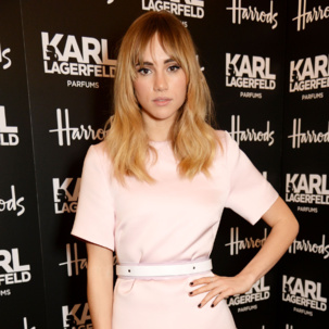 Suki Waterhouse attends the Harrods and Karl Lagerfeld Parfums VIP dinner in London, wearing the Monica Vinader delicate Skinny Diamond Pave Bracelet for subtle glamour.
