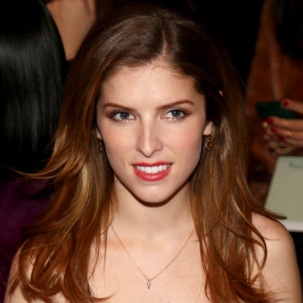Anna Kendrick wears the Monica Vinader Riva Diamond Shore Wire Earrings and Siren Diamond Pave Wide Band Ring to the Rebecca Minkoff Fall 2014 RTW show at New York Fashion Week.