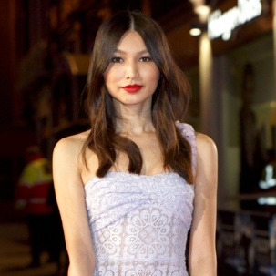 Gemma Chan attends the UK premiere of Jack Ryan:Shadow Recruit in London and wears Monica Vinader Riva Cuff and Skinny Diamond Ring.