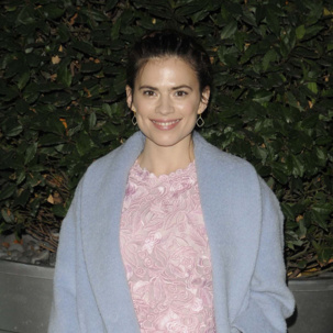 Hayley Atwell wears Monica Vinader Riva Diamond Hoop earrings at The English National Ballet's Nutcracker Christmas party.