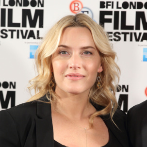 Kate Winslet wears Monica Vinader Riva Cocktail Earrings in Lemon Quartz and Diamond to the Labor Day press conference in London, 2013
