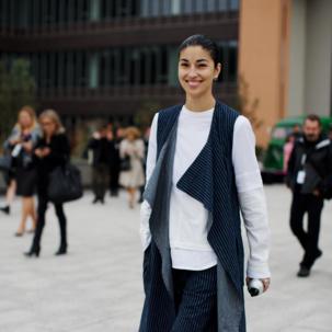 Caroline Issa wears Monica Vinader Baja Stacking Rings at Paris Fashion Week SS14.