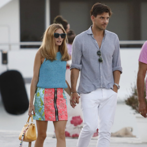 Johannes Huebl wears Mens Havana Bracelet in Denim Blue whilst out with Olivia Palermo