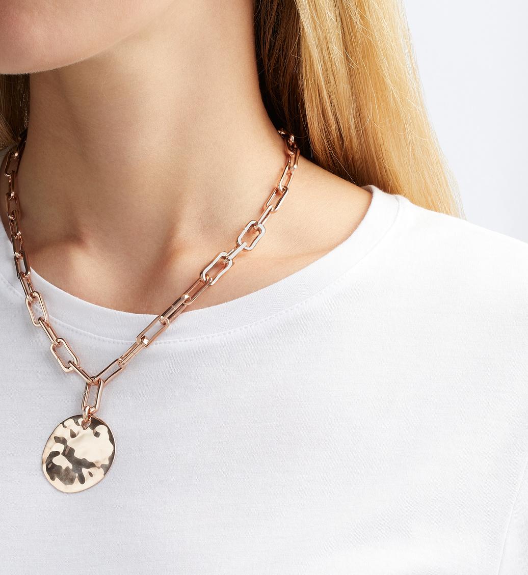 Model wearing Rose Gold Siren Shore Pendant