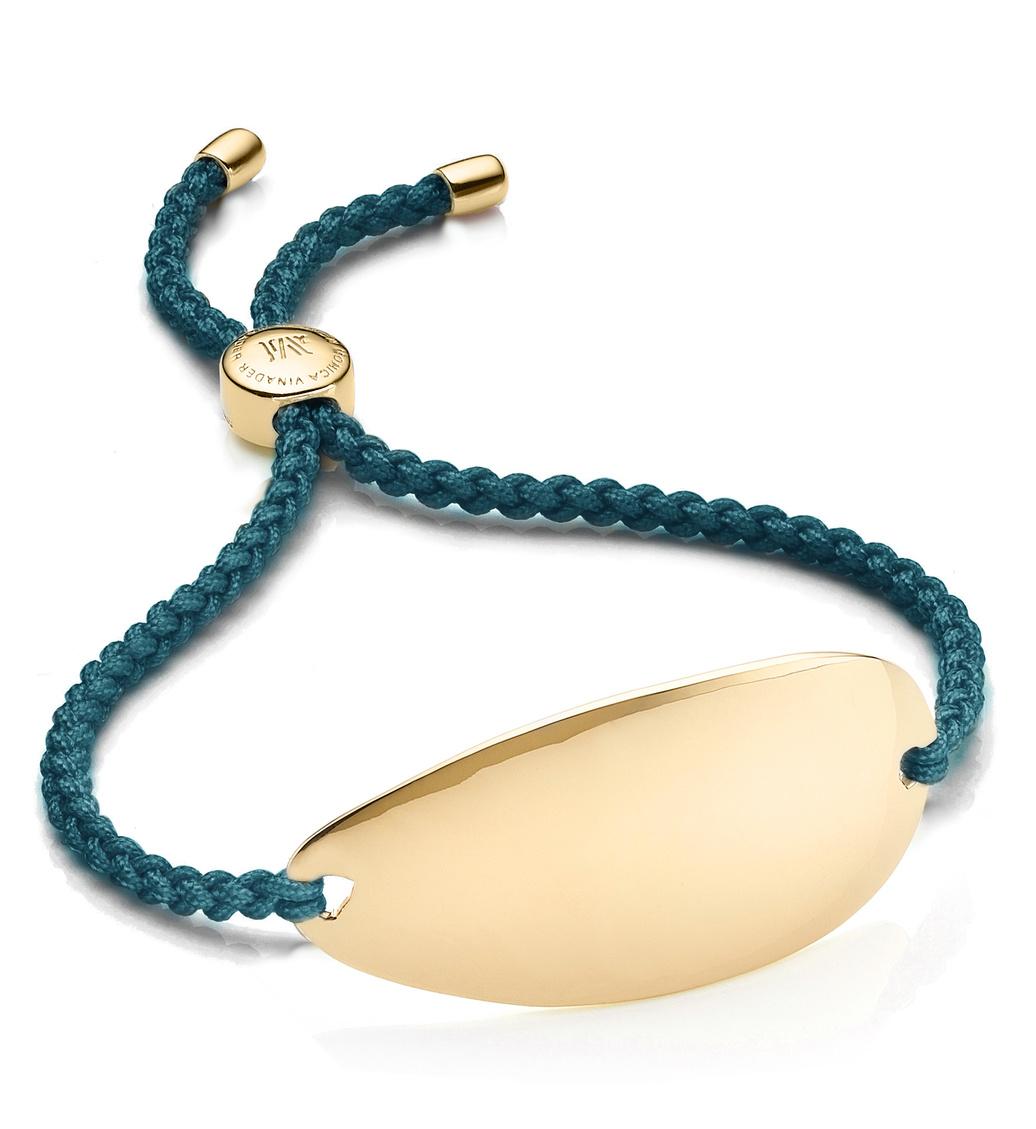 Gold Vermeil Nura Friendship Bracelet - Mallard Blue - Monica Vinader