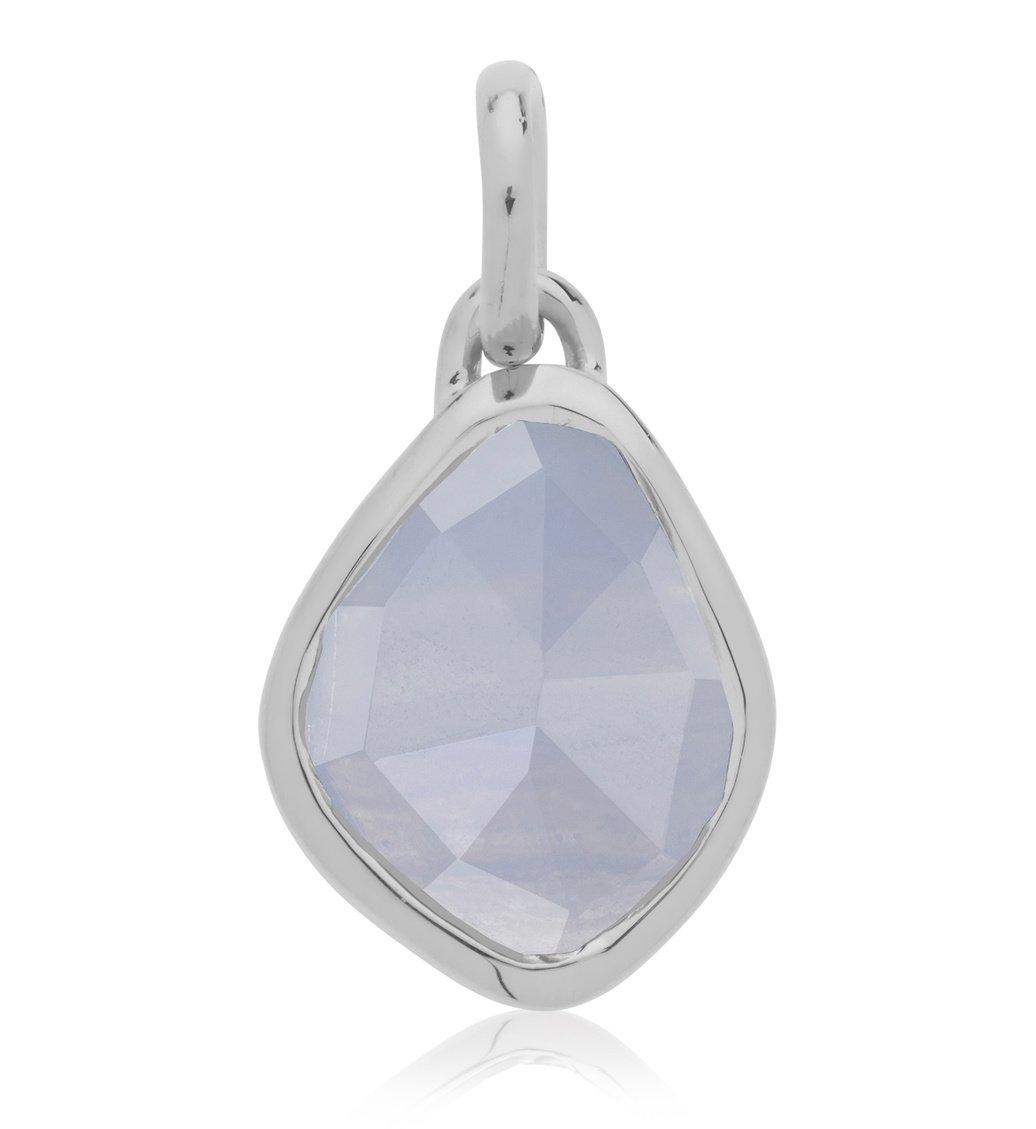 Sterling Silver Siren Small Nugget Pendant Charm - Blue Lace Agate - Monica Vinader