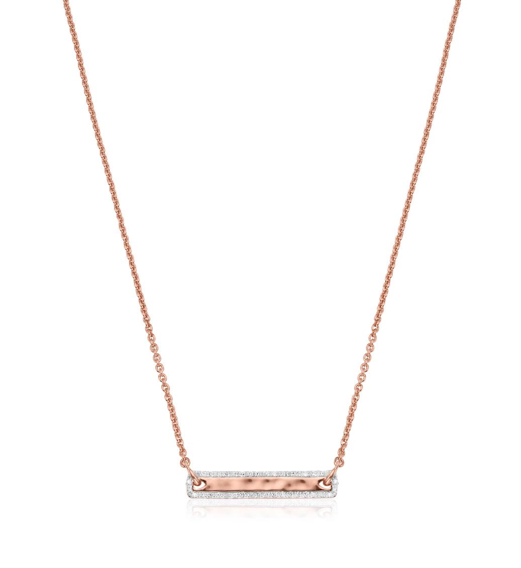 Rose Gold Vermeil Havana Tiny Bar Diamond Necklace - Diamond - Monica Vinader