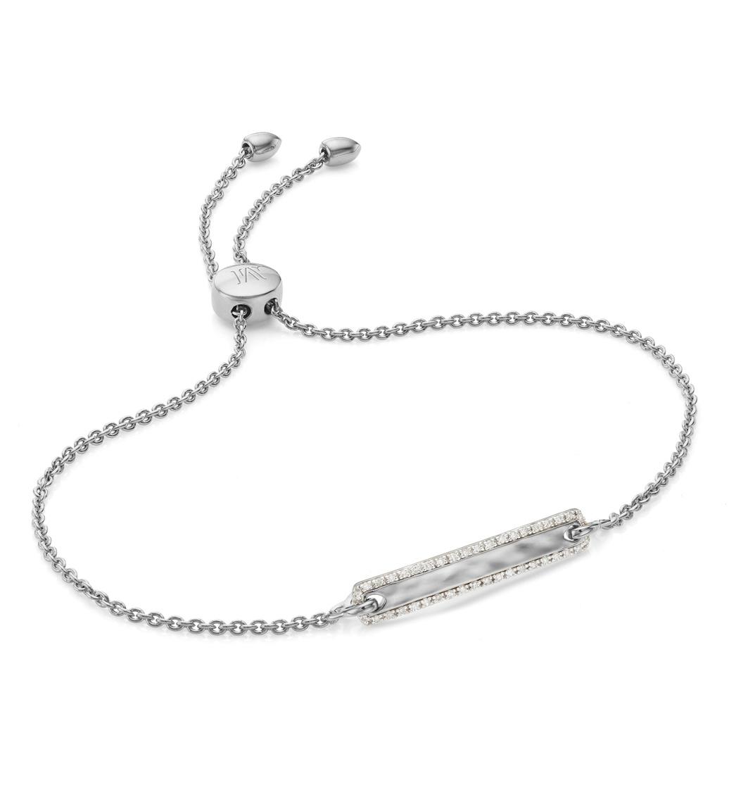 Sterling Silver Havana Tiny Bar Diamond Friendship Chain Bracelet - Diamond - Monica Vinader