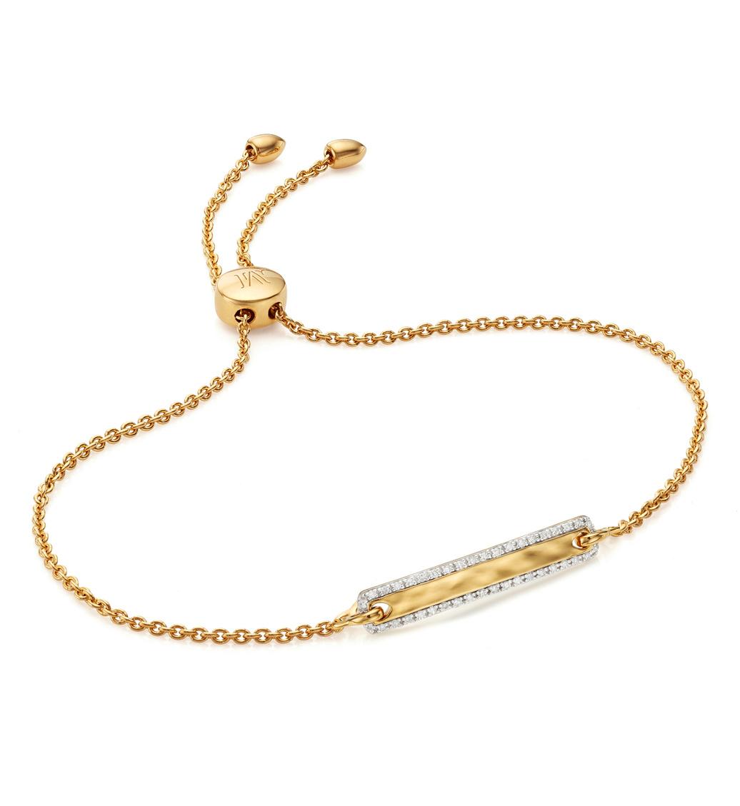 Gold Vermeil Havana Tiny Bar Diamond Friendship Chain Bracelet - Diamond - Monica Vinader