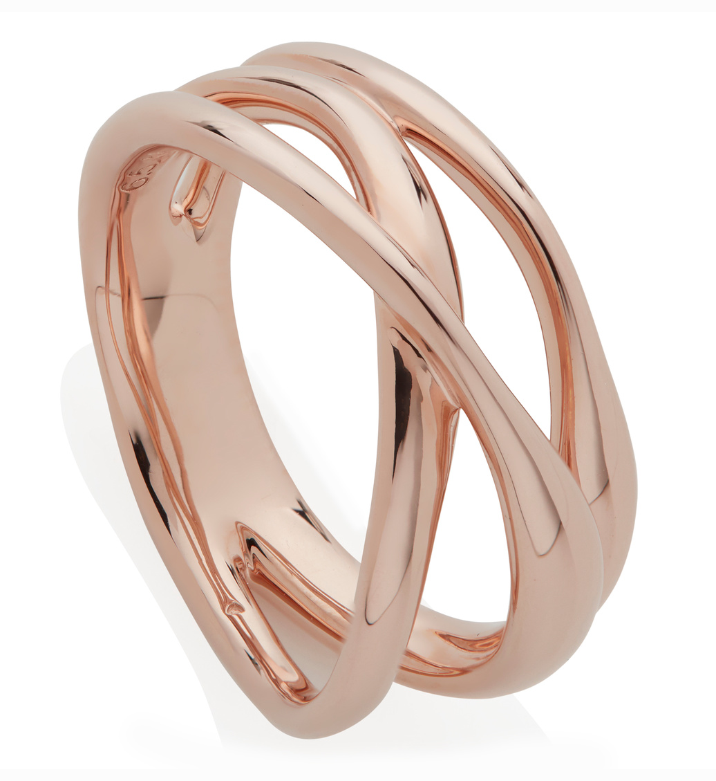 Rose Gold Vermeil Nura Cross Over Ring - Monica Vinader