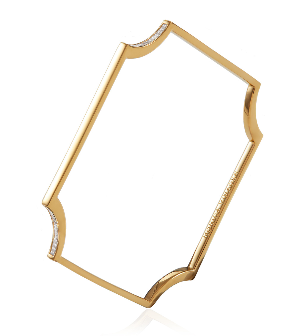 Gold Vermeil Signature Fixed Diamond Bangle - Diamond - Monica Vinader