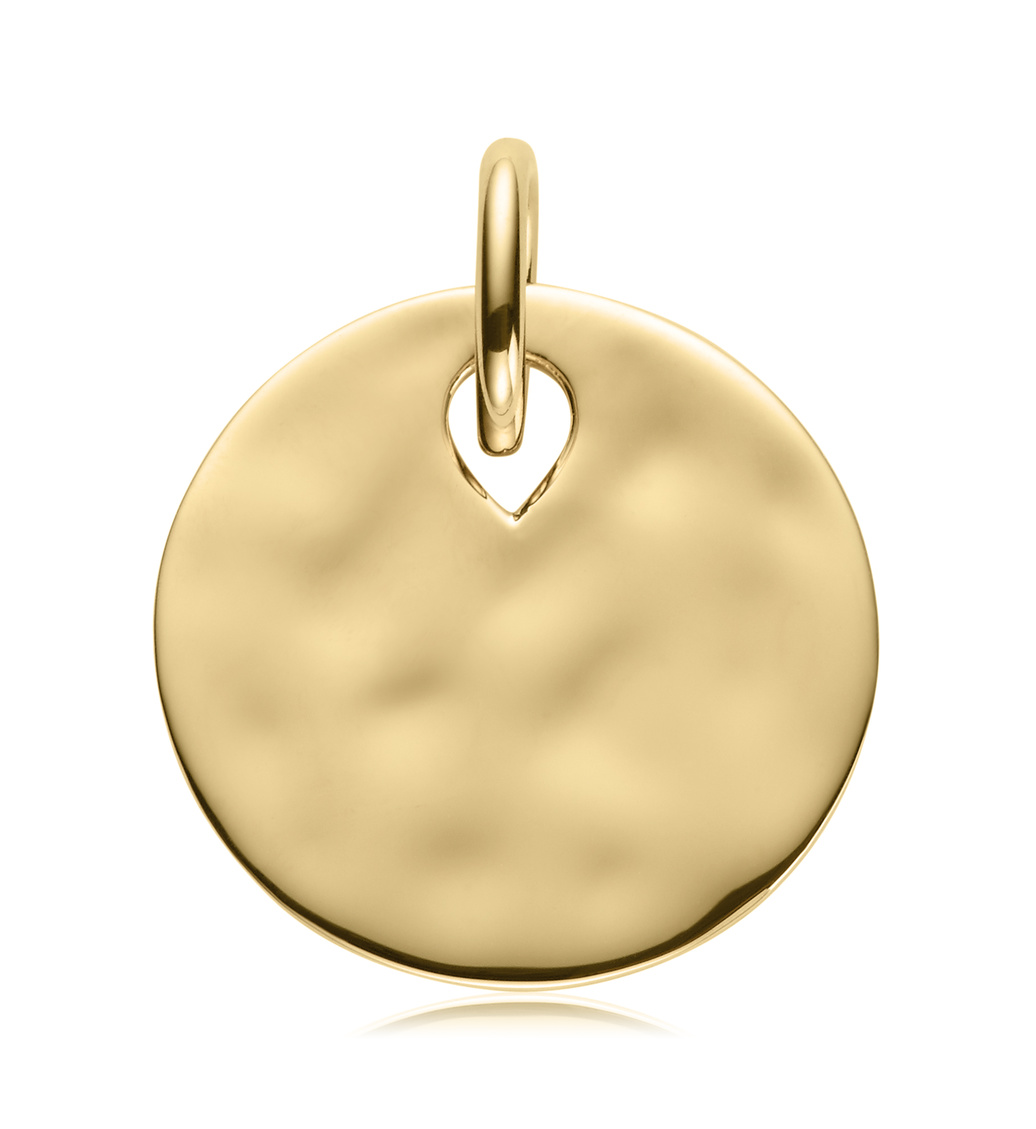 Gold Ziggy Round Pendant Charm