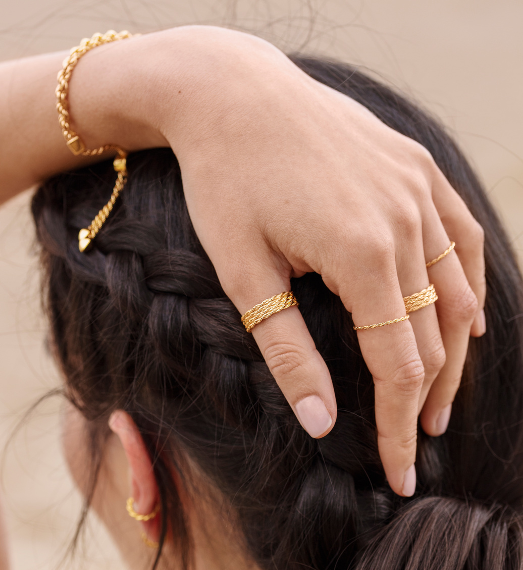 Gold Vermeil Corda Skinny Ring - Monica Vinader