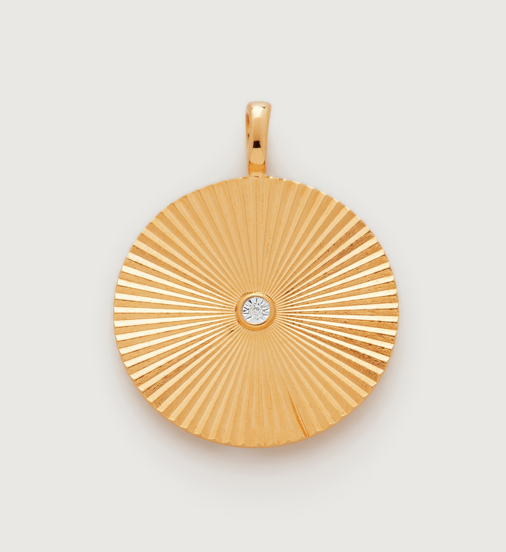 Gold Vermeil Disco Round Diamond Pendant - Diamond - Monica Vinader