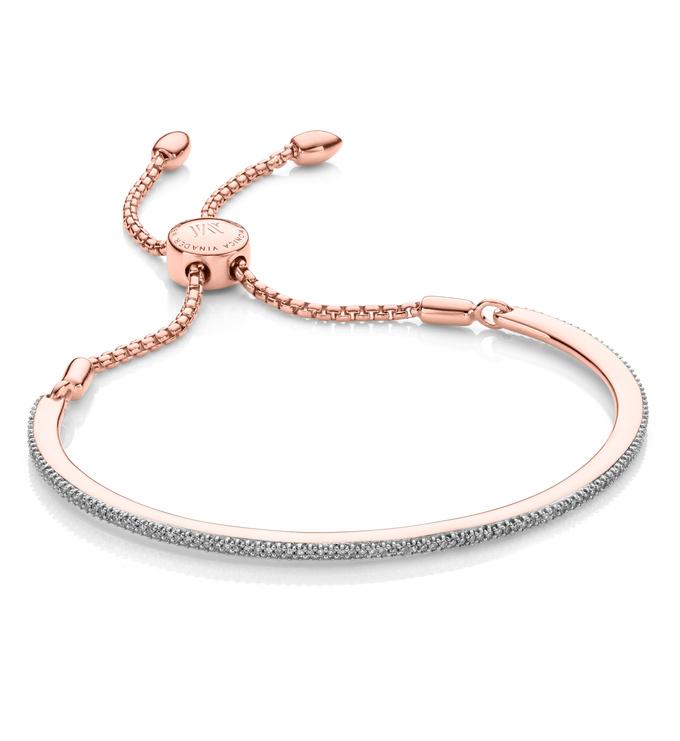 Rose Gold Vermeil Fiji Skinny Bar Friendship Chain Bracelet - Diamond - Monica Vinader
