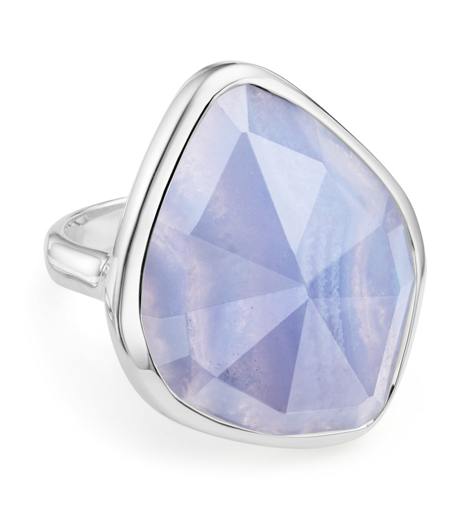 Sterling Silver Siren Nugget Cocktail Ring - Blue Lace Agate - Monica Vinader
