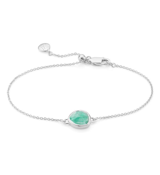 Sterling Silver Siren Fine Chain Bracelet - Amazonite - Monica Vinader