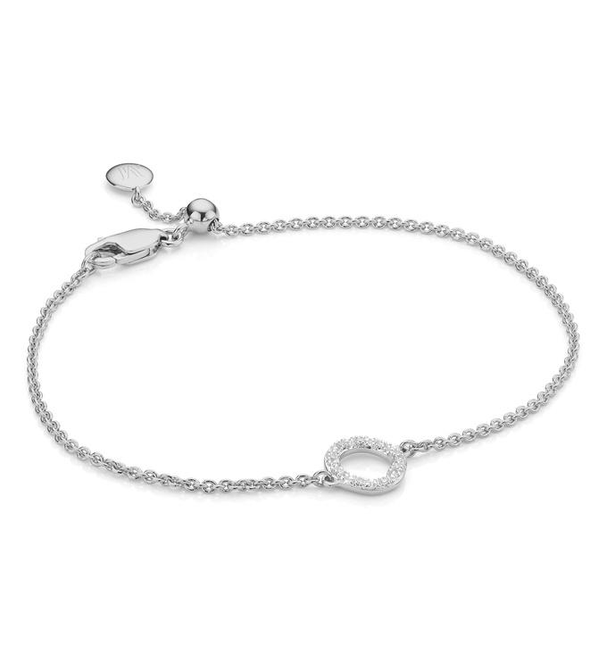 Sterling Silver Riva Mini Circle Bracelet - Diamond - Monica Vinader