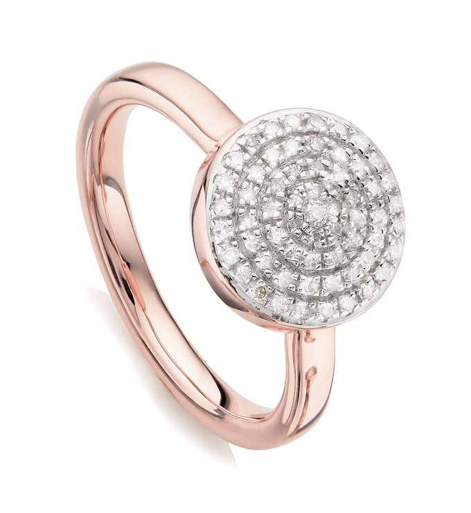 Rose Gold Vermeil Fiji Large Button Stacking Ring - Diamond - Monica Vinader