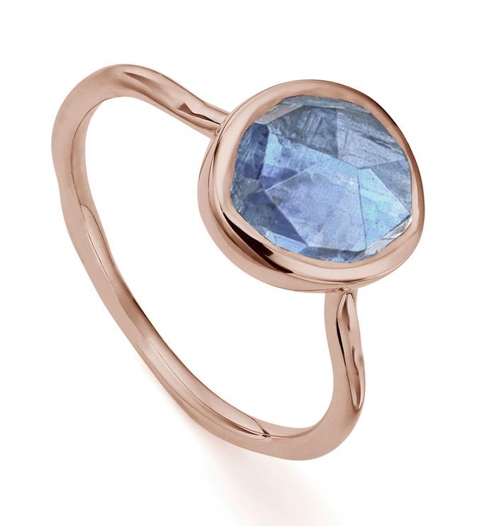 Rose Gold Vermeil Siren Stacking Ring - Kyanite - Monica Vinader