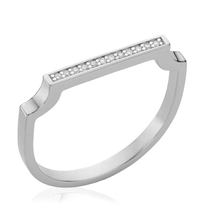 Sterling Silver Signature Thin Diamond Ring - Diamond - Monica Vinader