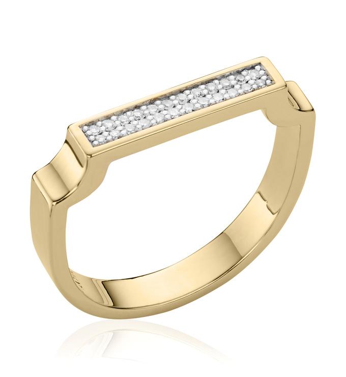 Gold Vermeil Signature Diamond Ring - Diamond - Monica Vinader