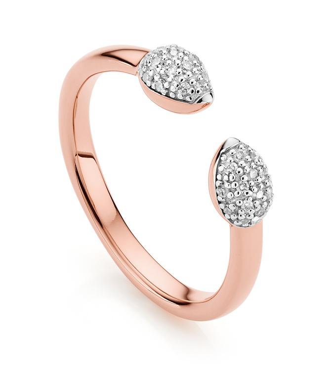 Rose Gold Vermeil Fiji Bud Stacking Diamond Ring - Diamond - Monica Vinader