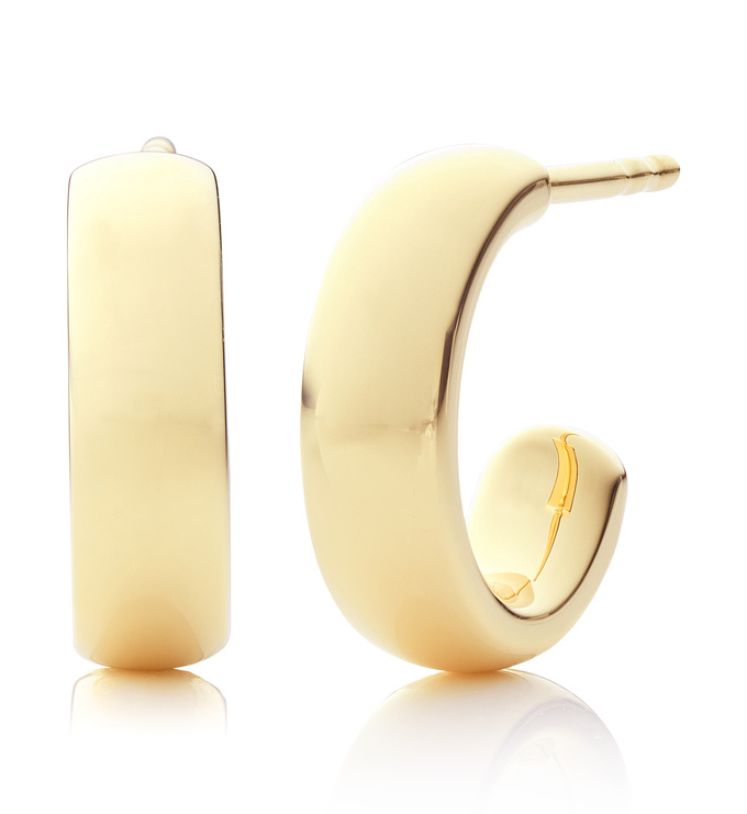 Gold Fiji mini hoop earrings front and side view