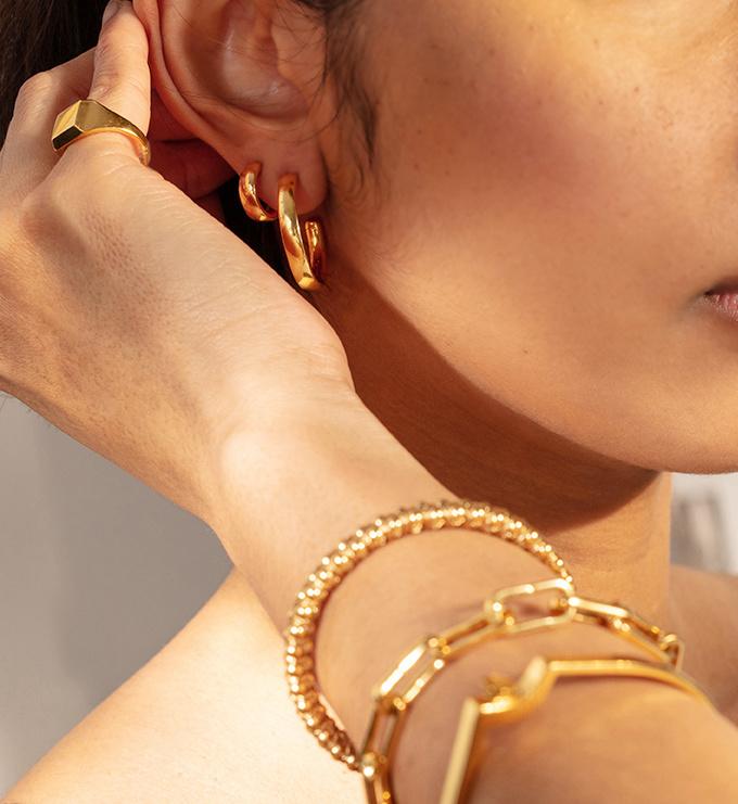 Gold Vermeil Fiji Large Hoop Earrings - Monica Vinader