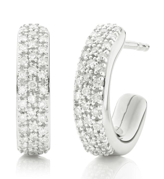 Sterling Silver Fiji Mini Hoop Diamond Earrings - Diamond - Monica Vinader