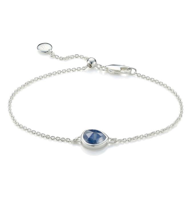 Sterling Silver Siren Fine Chain Bracelet - Kyanite - Monica Vinader