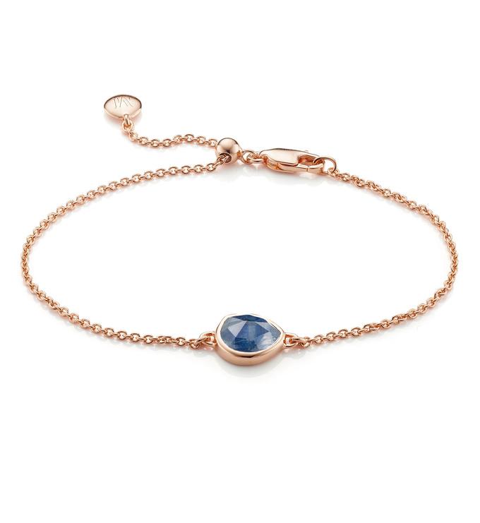 Rose Gold Vermeil Siren Fine Chain Bracelet - Kyanite - Monica Vinader