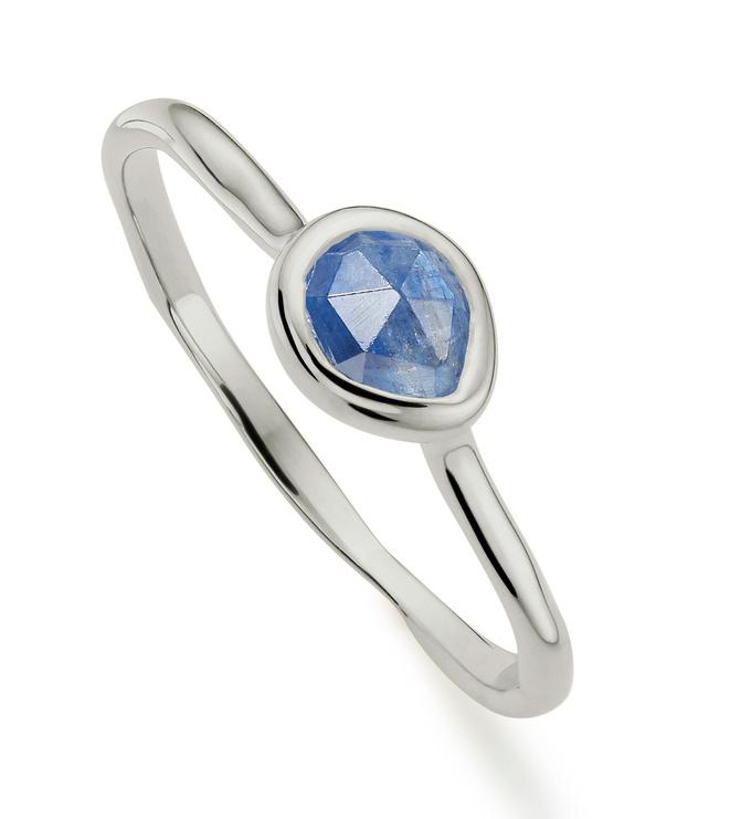 Sterling Silver Siren Small Stacking Ring - Kyanite - Monica Vinader