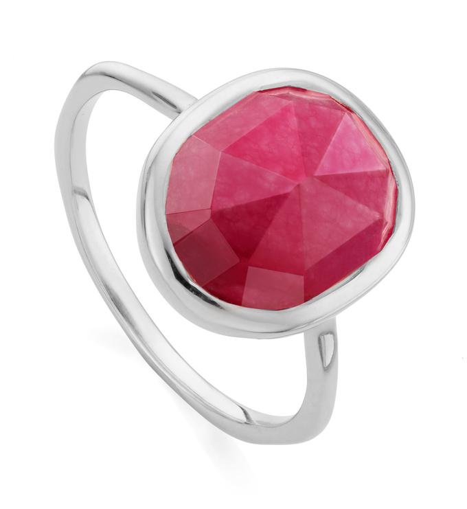 Sterling Silver Siren Medium Stacking Ring - Pink Quartz - Monica Vinader