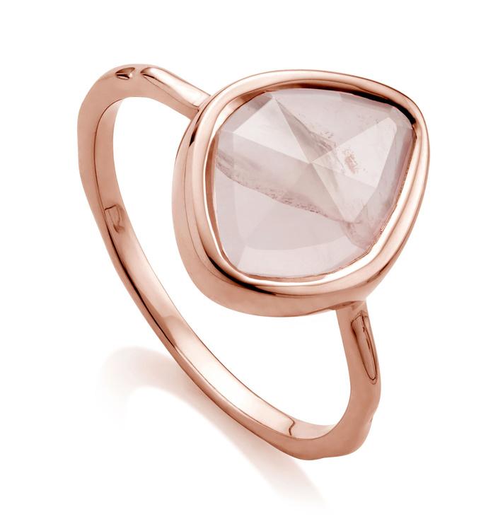 Rose Gold Vermeil Siren Small Nugget Stacking Ring - Rose Quartz - Monica Vinader