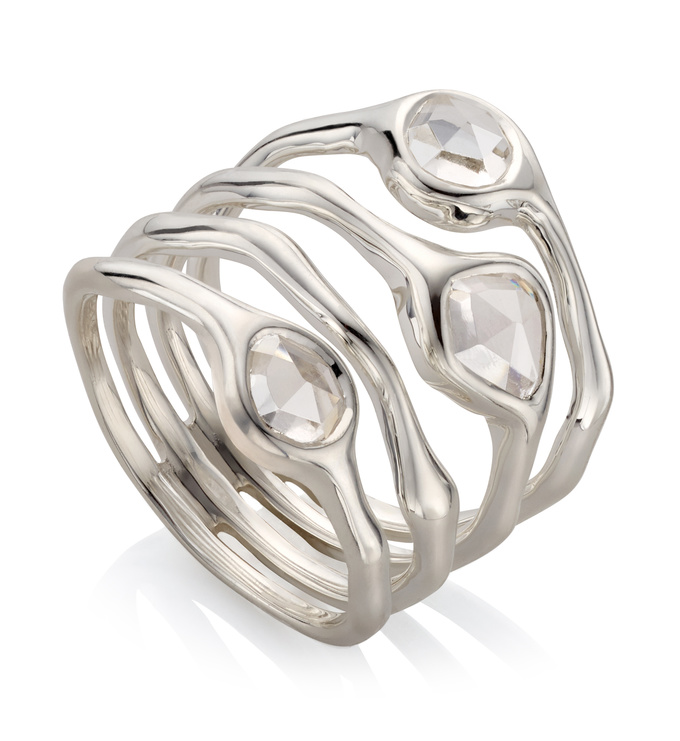 Sterling Silver Siren Cluster Cocktail Ring - Rock Crystal - Monica Vinader