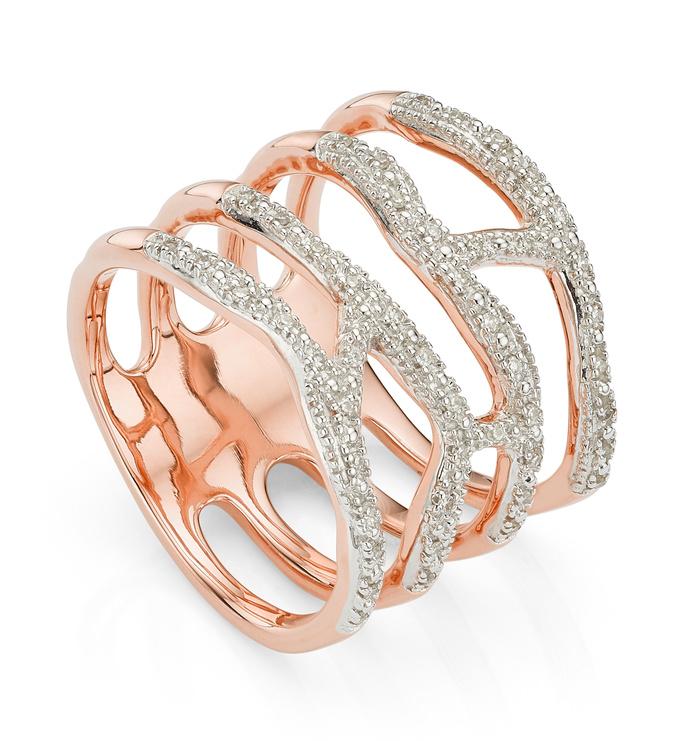 Rose Gold Vermeil Riva Waterfall Cocktail Diamond Ring - Diamond - Monica Vinader