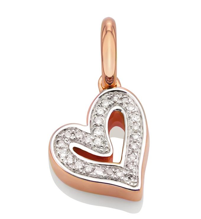 Rose Gold Vermeil Alphabet Heart Diamond Pendant Charm - Diamond - Monica Vinader