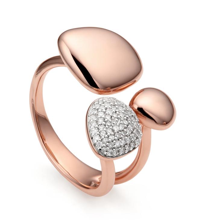 Rose Gold Vermeil Nura Pebble Cluster Diamond Ring - Diamond - Monica Vinader