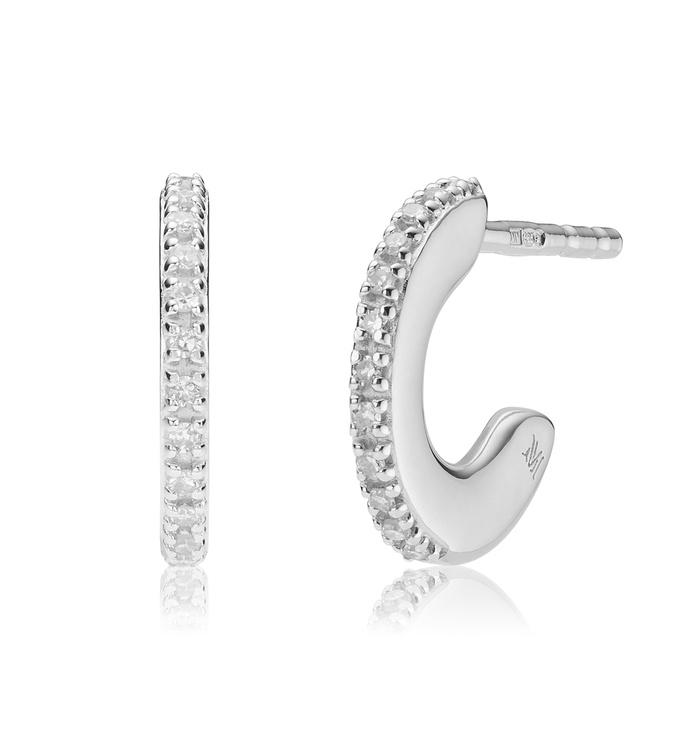 Sterling Silver Fiji Small Skinny Hoop Diamond Earrings - Diamond - Monica Vinader