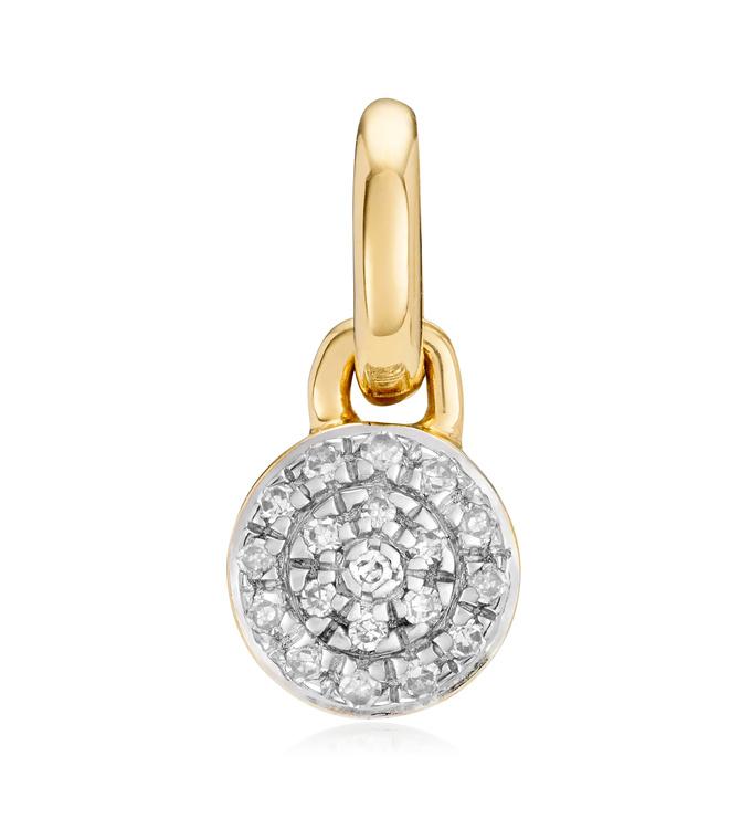 Gold Vermeil Fiji Mini Button Diamond Pendant Charm - Diamond - Monica Vinader