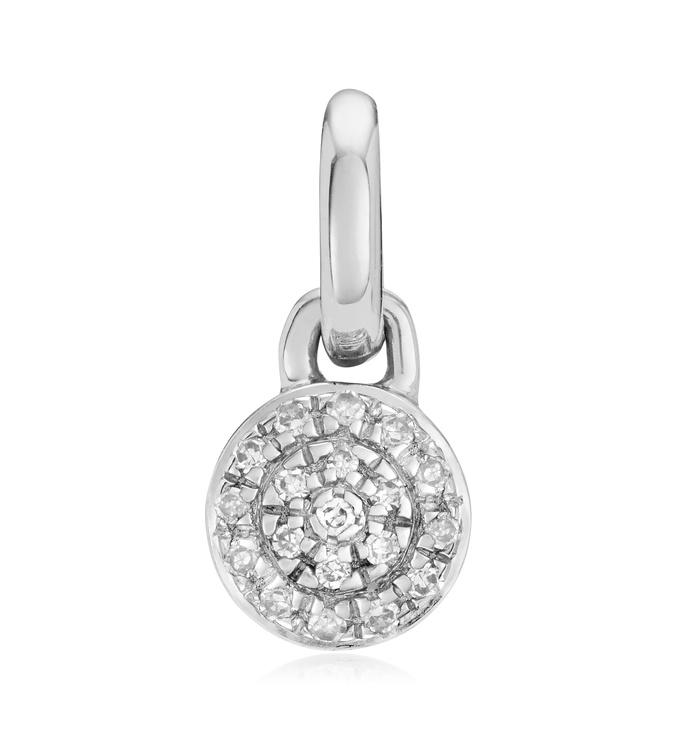 Sterling Silver Fiji Mini Button Diamond Pendant Charm - Diamond - Monica Vinader