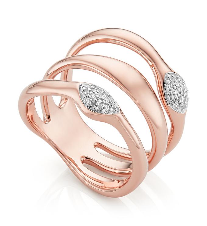 Rose Gold Vermeil Nura Teardrop Multi Band Diamond Ring - Diamond - Monica Vinader