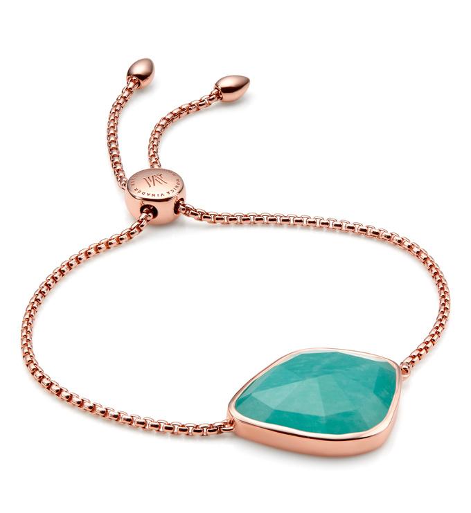 Rose Gold Vermeil Siren Nugget Cocktail Friendship Chain Bracelet - Amazonite - Monica Vinader