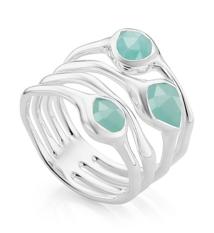 Sterling Silver Siren Cluster Cocktail Ring - Amazonite - Monica Vinader